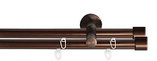 gardinenstange 2 laeufig 240 Tilldekor Innenlauf Gardinenstange HIGH-LINE ANDRAX, 2-Lauf,  braun-antik, Ø 20 mm, 240 cm, inkl. Trägern und Gleitern