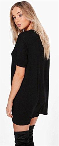 Moda a Maniche Corte Metal Ring collo alto e profonda scollatura Neck Mini Corte Corta T-Shirt Maglietta Shift Straight Dritto Boxy Beach Dress Vestito Abito Nero