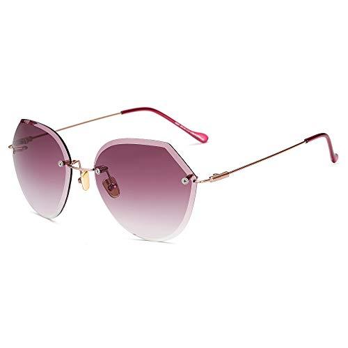 YHW-GLASSES-0819 Gläser Damen Sonnenbrillen Großhandel Trend rahmenlose Sonnenbrille Schnittkante Progressive Farbe reflektierende Sonnenbrille YHWCUICAN (Color : 2)