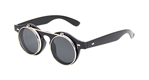 ASVP Shop® Steampunk Goggles Glasses Round Sunglasses Emo Retro Vintage Flip Up Cyber A1