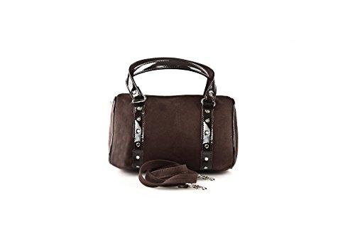 Bauletto sac femme ANNALUNA brun MADE IN ITALY camoscio borsetta sera N332