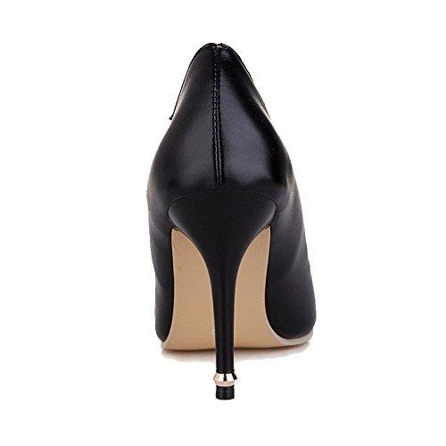 Ziehen Damen Stiletto Schwarz Zehe Rein VogueZone009 Spitz Leder Schuhe Pu Pumps Auf SI8w4dw