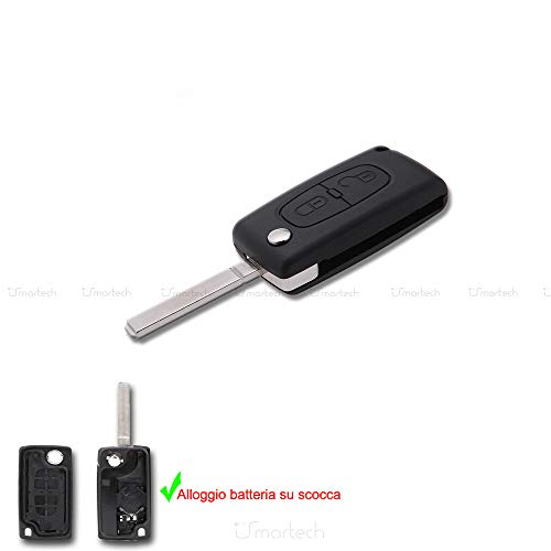 Smartechnology - Coque de clé 2 boutons pour Citroen C1 C2 C3 C4 C5 Télécommande Coque