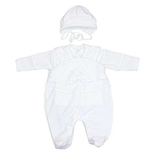 TupTam Unisex Baby Taufanzug Nicki 3-tlg. Set, Farbe: Weiß, Größe: 62