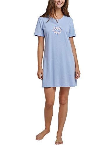 Sleepshirt Aus Reiner Baumwolle (Schiesser Damen Sleepshirt 1/2 Arm, 85cm Nachthemd, Blau (Air 802), 48 (Herstellergröße: 048))