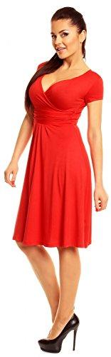 Zeta Ville - abito di maglina - manica corta - estivo vestito - donna - 108z Rosso