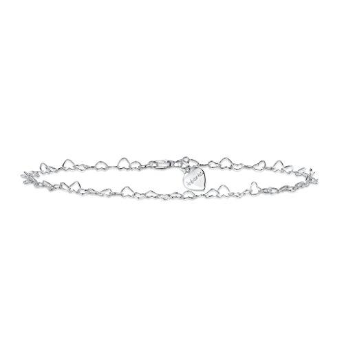 Dise/ño de hoja de tr/ébol rebobinasteis SilberDream de pie de cadena 25 cm 925 plata de ley tobillera SDF2065