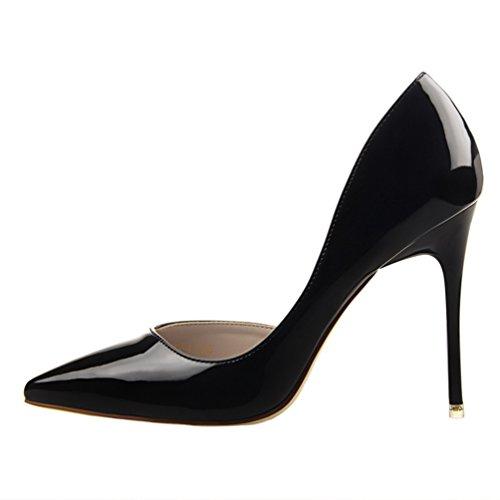HooH Femmes Sexy Pointu D'Orsay Stiletto Escarpins Noir