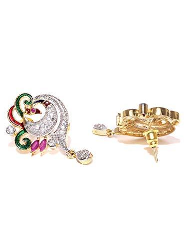 YouBella Multicolor Metal Cz Pendant Necklace Set For Women