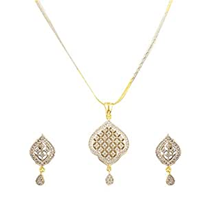Zeneme American Diamond Gold Plated Pendant Set with Chain and Earrings for Women