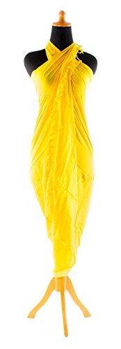 Sarong Handbestickt inkl. Sarongschnalle im Herz Design - Viele Größen und exotische Farben und Muster zur Auswahl - Pareo Dhoti Lunghi Gelb