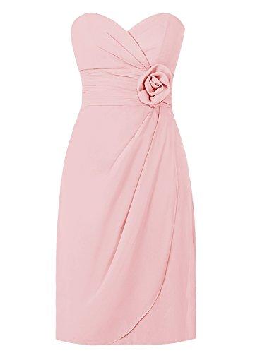 Dresstells, robe courte de demoiselle d'honneur avec fleur col en cœur Blush