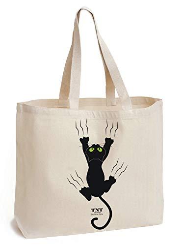 Print Canvas Shopper (TNT Positive Style Baumwolltasche mit Boden - Feste 195 g/m²- große Tasche Canvas - einzigartige Cat Print - Shopper Tasche - natürliche - Lange Henkel - Baumwolle Einkaufstasche 45x42x10cm)