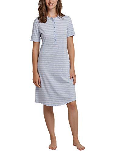 Sleepshirt Aus Reiner Baumwolle (Schiesser Damen 1/2 Arm, 100cm Nachthemd, Blau (Hellblau 805), 38 (Herstellergröße: 038))