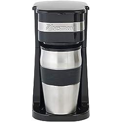 Bestron Cafetière électrique avec mug isotherme, Pour café filtre moulu, 2 Tasses, 750 W, Acier inoxydable, Noir