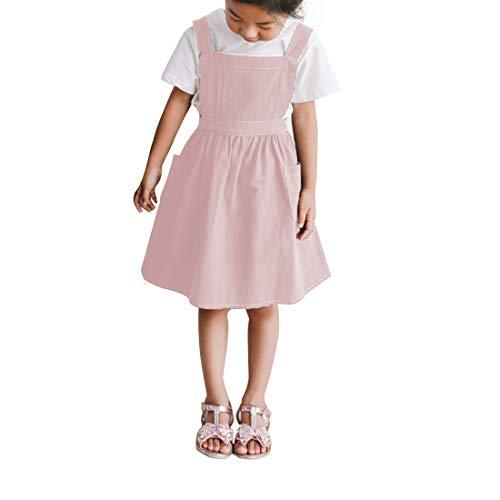 soweilan Schürze aus Leinen, Baumwolle, nordischer Stil, mit 2 Taschen, für Kinder, Mädchen, Küche, Klassenzimmer, Basteln, Spiele und Kunstmalerei Rose