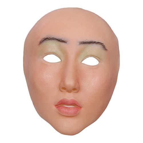 FHSGG Realistische weibliche Masken sexy silikon Maske Halloween Weihnachten hübsch Engel Gesicht Cosplay männlich zu weiblich für Crossdresser Transgender shemale