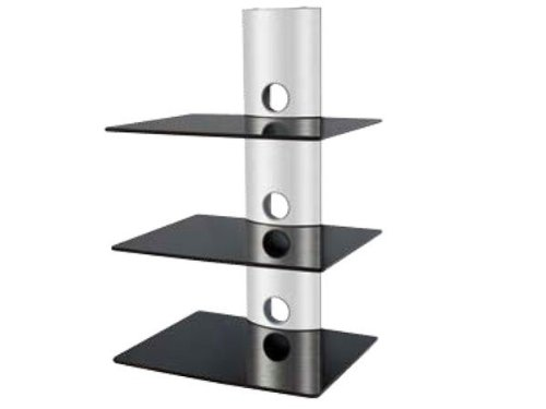 Wandhalterung für DVD Media Bluray Player Amp Speaker Boxen Regal Ablage (3 Glasböden) Modell: GL3 Schwarz Media Regal