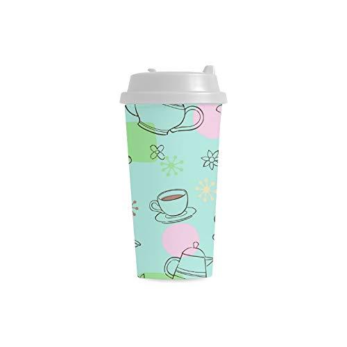 tes Teacup Gewohnheits 16 Unze doppelwandiger Plastikisolierte Sport Wasser Flaschen Becher Pendler Reise Kaffeetassen für Studenten Frauen Milch Teacup Getränk ()