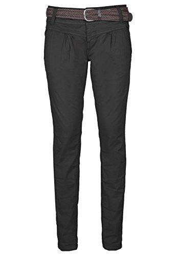 Urban Surface Damen Chino-Hose I Elegante Stoffhose mit Flecht-Gürtel aus bequemer Baumwolle black L (Jeans-print-stoff)