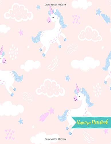 Unicorn Notebook: Cute Kawaii Journal and Diary Large 8.5 x 11 Matte Cover with Blank Lined Ruled White Paper Interior - Perfect for School, Gifts for ... Birthday, Activity Book for Arts and Crafts - Hogan Cover