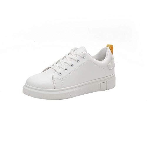 GERPY Zapatos Mujer Moda Cuero Blanco Zapatilla Deporte