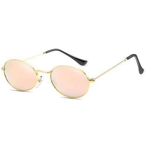 CCGSDJ Kleine Ovale Spiegel Sonnenbrille Für Frauen Rosa Luxus Männer Eyewear Shades Damen Legierung Sonnenbrille
