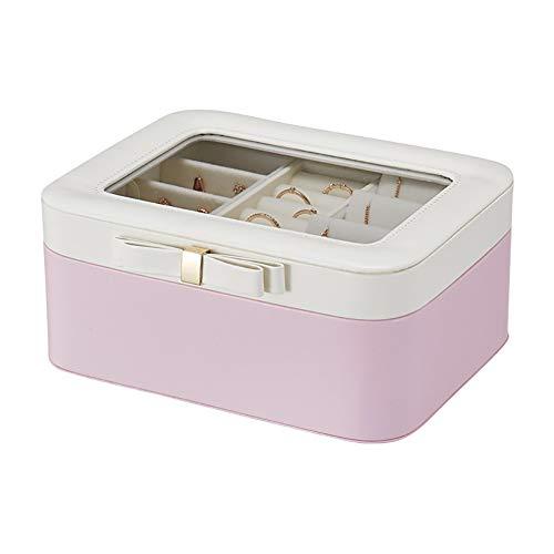 Bling Große Kapazität Schmuck Aufbewahrungsbox Offene Abdeckung Tragbare Doppelschicht-Aufbewahrungsbox,Pink - Schrank Große Mit Schmuck Lock