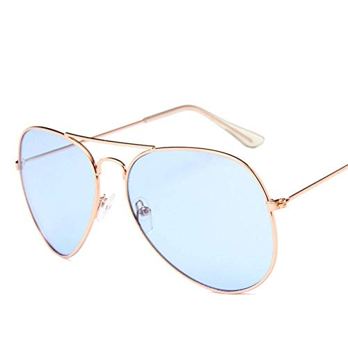 GAOHAITAO Ocean Sunglasses for Women Metal Frame Yellow Sun Glasses Pink Lens Sun Glasses Aviator,Gold Blue