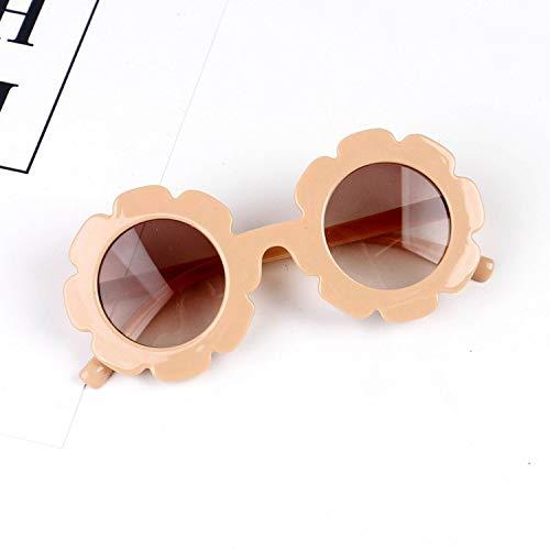 ERTMJ Kinder Runde Sonnenbrille Xiaoqing Kindersonnenbrille Uv-Schutz Baby Sonnenbrille Kleine Blumen Kinder Niedliche Form Brille Nackten Pulverrahmen