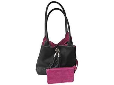Giglio Soft Italian Leather and Suede Handmade Reversible Shoulder Bag Black & Pink
