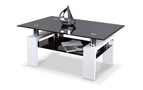 agionda® Couchtisch Diana XLW 90 Hochglanz Weiss lackiert mit schwarzem Glas und Chrom - Hochglanz Schwarz Glas