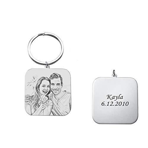 Personalisierte Square Keychain Gravur Bilder Foto Keychain Sterling Silber(Skizzieren F)