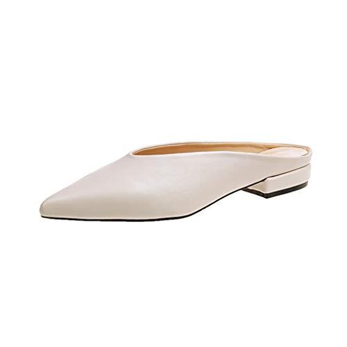 Förderung Damen Spitz Sandalen Slingback Kitten Absatz Pointed Toe Pumps Mittlere Fersen Bequeme Schuhe Sommer Flip Flops Hausschuhe Slipper Strand Schuhe (EU:39, Beige) -