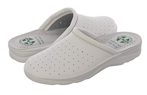 Ciabatte sanitarie uomo e donna, pantofole professionali chiuse, zoccoli sanitari, scarpe ortopediche confortevoli, suola anatomica, made in italy bianco (uomo) 43