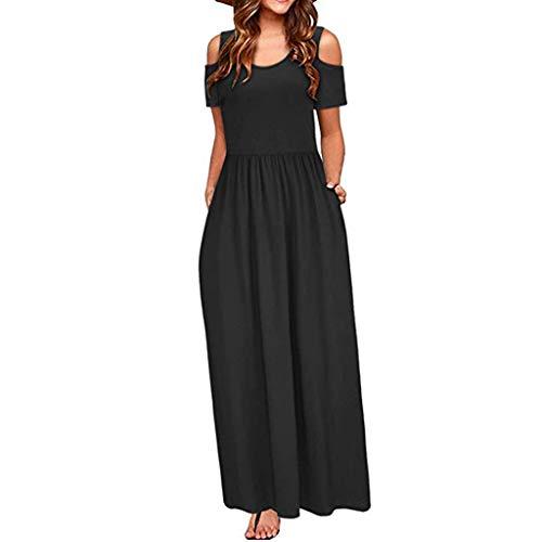 SEEGOU Kleid für Damen Sommer Mode Kalte Schulter Blumendruck Elegantes Freizeitkleider Maxi Langes Kleid Taschenkleid Abendkleider