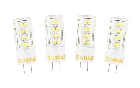 Bonlux 4W-paquet de 4 GY6.35 G6.35 bi-broches 220V JC de 2800K blanc chaud Type LED ampoule T3/T4/T5 G6.35/GY6.35 JCD Base LED halogène 35W à incandescence remplacement ampoule LED