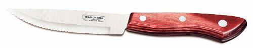 Tramontina 21499/710 - Set da carne, composto da 6 coltelli con manico rosso dotato di triplice chiodatura