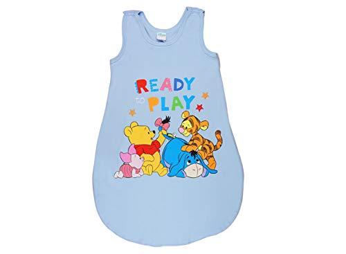 Baby- und Kinder- Sommer-Schlafsack ÄRMELLOS aus Baumwolle, UNGEFÜTTERT, Winnie The Pooh Ready to Play, GRÖSSE 56-62, 68-74, 80-86, 92-98, mit Druck-Knöpfen und Bein-Freiheit Farbe Blau, Größe 68/74