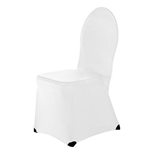 Scheffler-home ben coprisedie 2 pezzi, elasticizzato copertura della sedia di banchetto, bi-elastico vestisedia moderno, decorativo protezione in stretch in tessuto con banda elastica per una misura universale, coppia spandex coprisedia, estremamente elastico - bianco