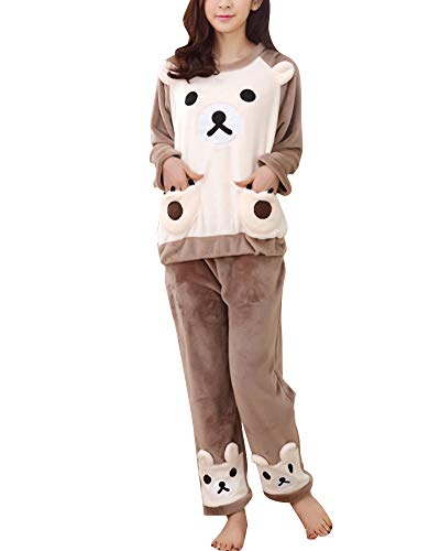 Damen Warm Schlafanzug Set Flanell Pyjama Zweiteiliger Langarm Nachtwäsche L