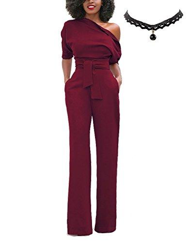Uuaisso donna tuta intera monopetto eleganti bodysuit manica corta camicia pantaloni senza spalline shirts pants rosso xxl