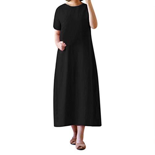 CANDLLY Kleider Damen, Sommer Mode Einfarbig Kurzarm Taschen Kleids Fest Übergroße Lose Strandkleid Festliche Lässig O-Neck Langes ()