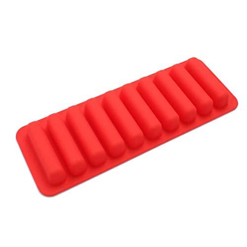 Upxiang Finger Bar Silikonform Backformen DIY Cookie Süßigkeiten Gebäck Schokoladenform Popsicle Eiswürfel Eiswürfelschale (Rot)