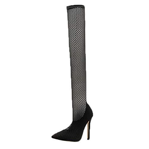 Strung Frauen Sexy Openwork Socken Schuhe Net Schuhe Spitz Stiletto Shallow Mouth Einzelne Schuhe High Heels über das Knie Stiefel - Diamant-knie-socke