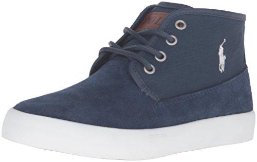 POLO RALPH LAUREN - Blauer Schnürschuh aus Wildleder, seitlich ein weißes Logo, oberer Saum aus Leder, sichtbare Nähte und Gummisohle, Jungen-32 (Polo Ralph Lauren Sneaker Kinder)