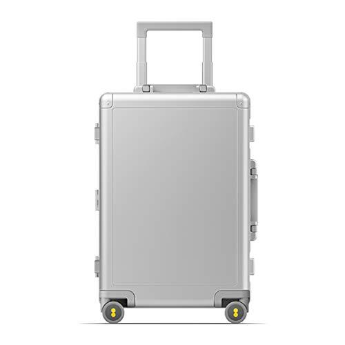 Hochwertigen Reisekoffer Trolley, 20 inch Koffer Bordgepäck, Handgepäck aus Aluminium-Magnesium-Legierung, 38.2 x 21.4 x 56 cm, Kapazität: 36 L, Gewicht: 4.6 KG, für Geschäft und Reise (Silber)