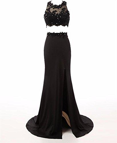 Changjie Damen Zwei St¨¹ck Langes Abendkleider Kristall Perlen Abiballkleid Maxi Formal Gown