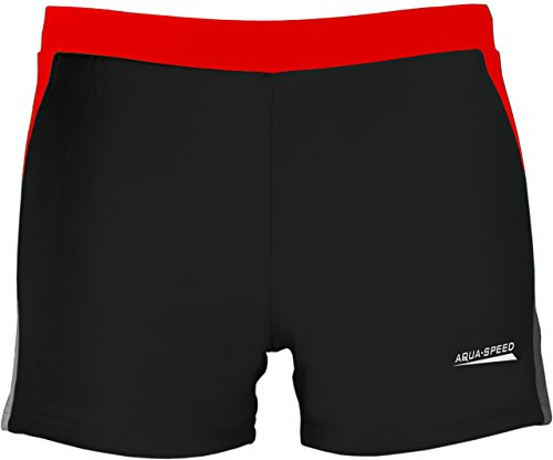 Aqua Speed Herren 5908217662446Dario Swim Shorts, Schwarz/Grau/Rot, 2X Große