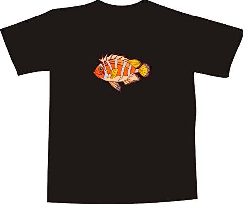 T-Shirt E665 Schönes T-Shirt mit farbigem Brustaufdruck - Logo / Grafik - Comic Design - wunderschöner Zierfisch im Meer Schwarz